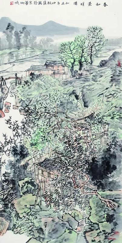 画家张复兴山水画作品春和景明图