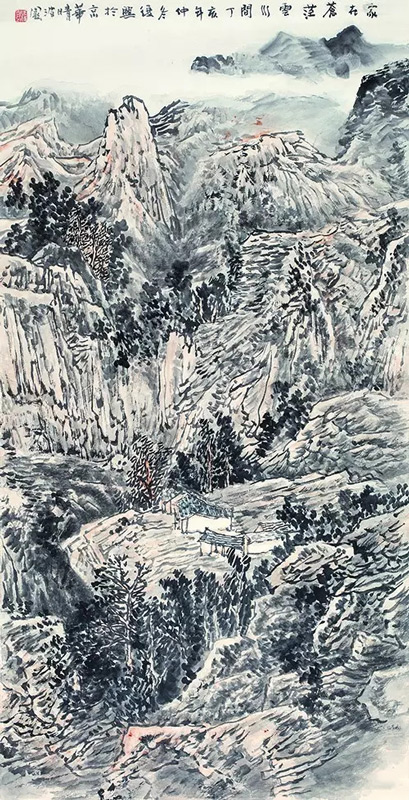 画家张复兴山水画作品家在苍茫云水间