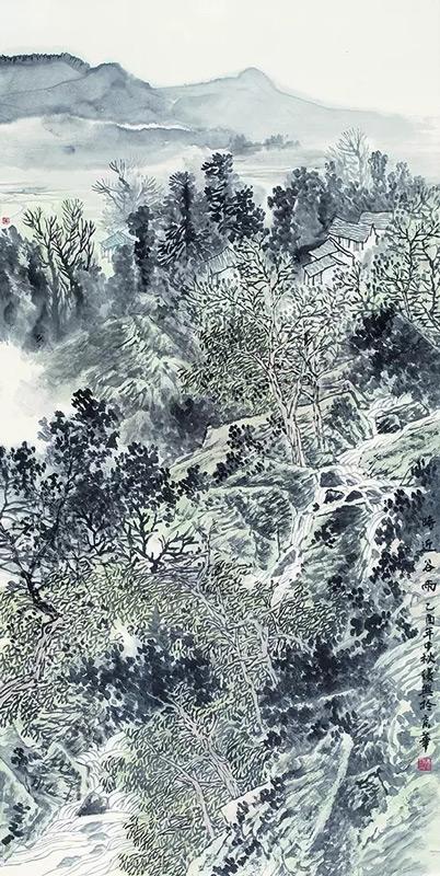 画家张复兴山水画作品时近谷雨