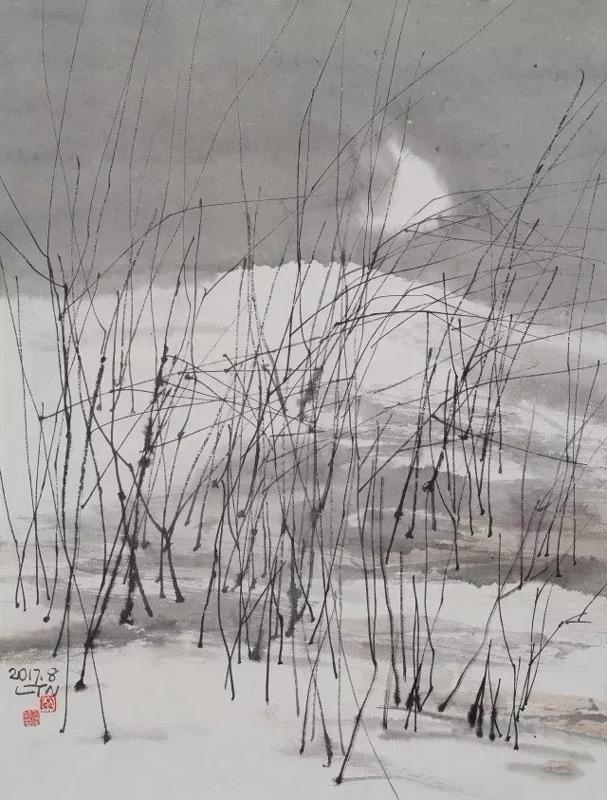 画家陆天宁山水画作品雪