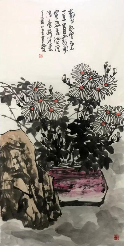 画家吴泉棠山水画作品菊石图