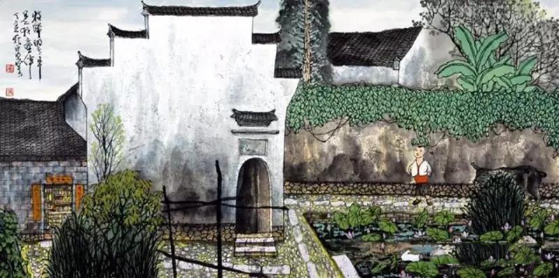 画家吴泉棠山水画作品暮归的老牛
