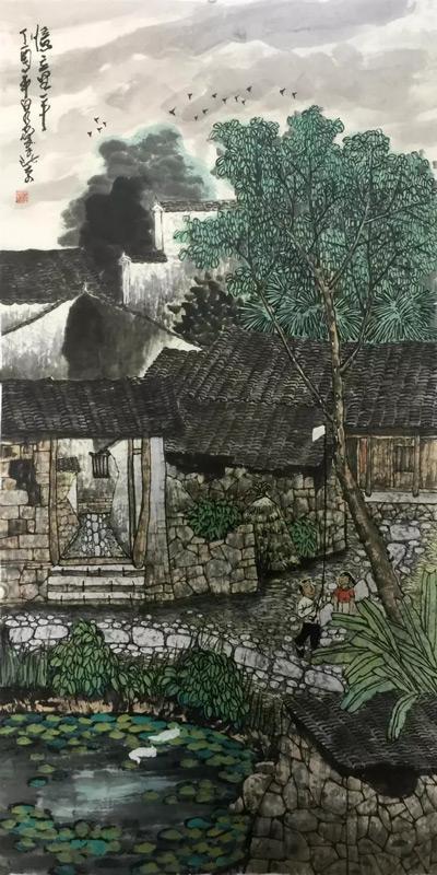 画家吴泉棠山水画作品忆童年