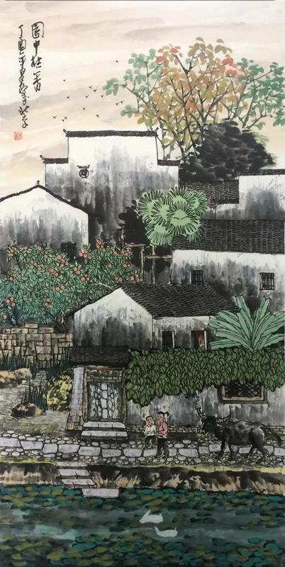 画家吴泉棠山水画作品园中桂香