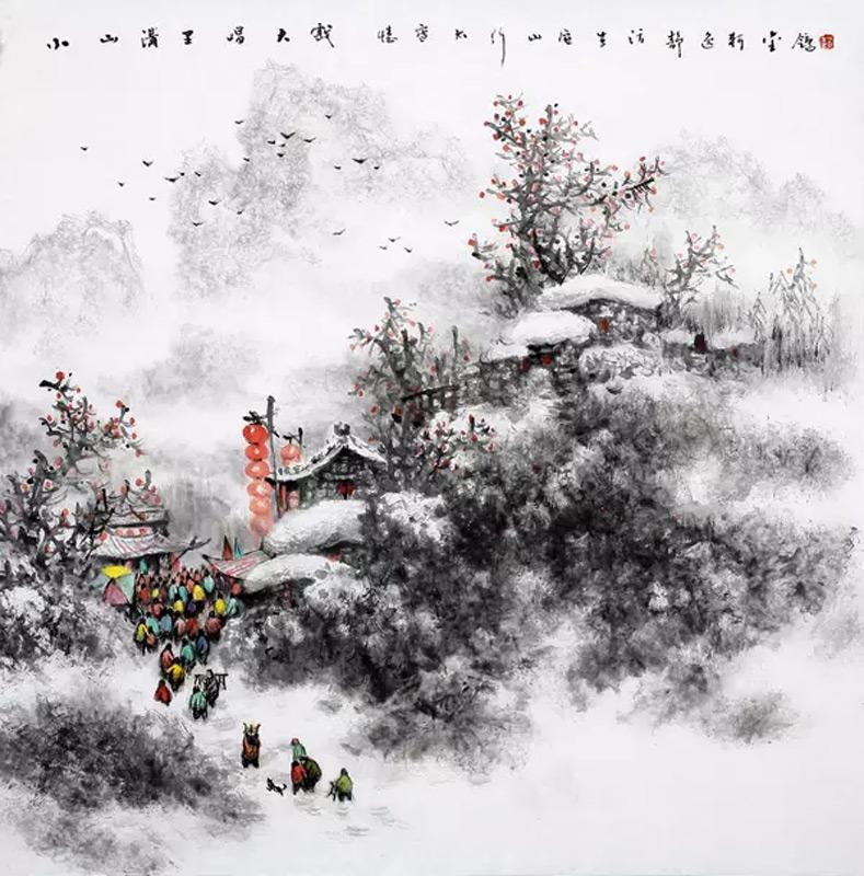 画家赵金鸰山水画作品小山沟里唱大戏