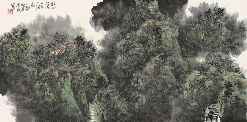 画家王忠雁山水画作品乱山溪处一涧流
