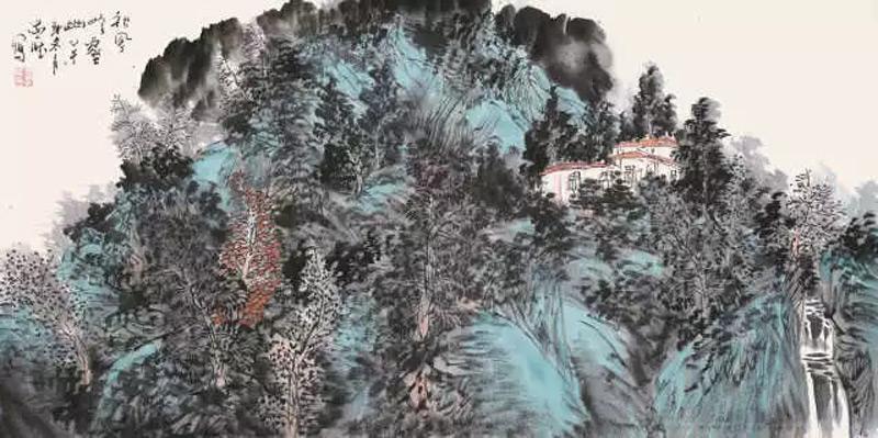 画家王忠雁山水画作品秋风岭壑幽