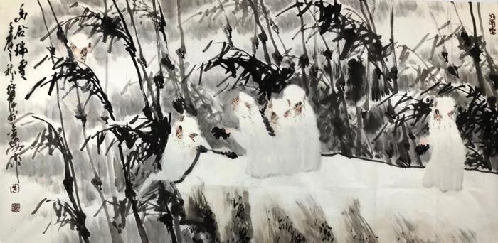 画家徐培晨猴作品幽谷瑞雪